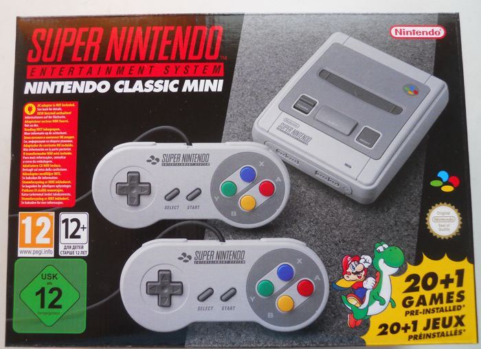 Super Nintendo Classic Mini 20+1 Games - 2 Joypads