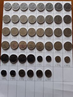 Republic of Italy - Complete series of 50 Lira coins from 1954 to 1999