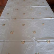 Damask tablecloth with handmade embroidery - Italy - 1960s