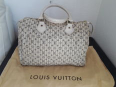 Louis Vuitton – Blue/White Monogram Mini Lin Croisette Speedy 30 Bag