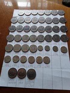 Italy, Republic - Complete series of 49 coins of 100 lira from 1955 to 1999 (incl. years 1955-1960)