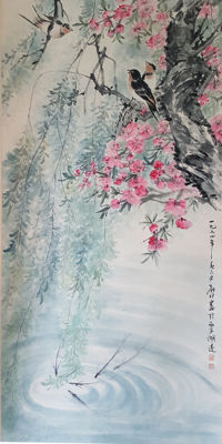 Hand-painted scroll painting《陆抑非-花鸟》- China - late 20th century