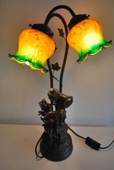 Table lamp with base of a boy and girl of Zamac, France, 1970s