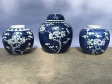 3 blue white ginger jar - China - approx 1920.
