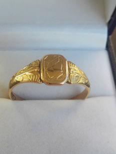 Mens Vintage  18K Gold Ring, size 22,30mm/ 4.6g, year 1956, No Reserve price