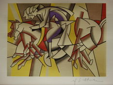 Roy Lichtenstein Lithograph Print - Red Horseman - Printed Signature On Plate