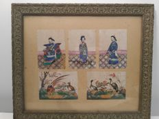 Set of five gouache on rice paper depicting five figures in a tableau - China - 19th century.
