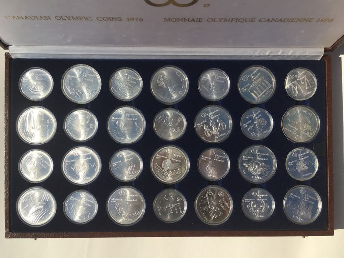 Canada - 5 and 10 Dollars 1973/1976 'Montreal Olympics' (28 coins) in set - Silver