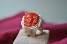Ring made of Mammut ivory and Mediterranean coral - Size 14/15