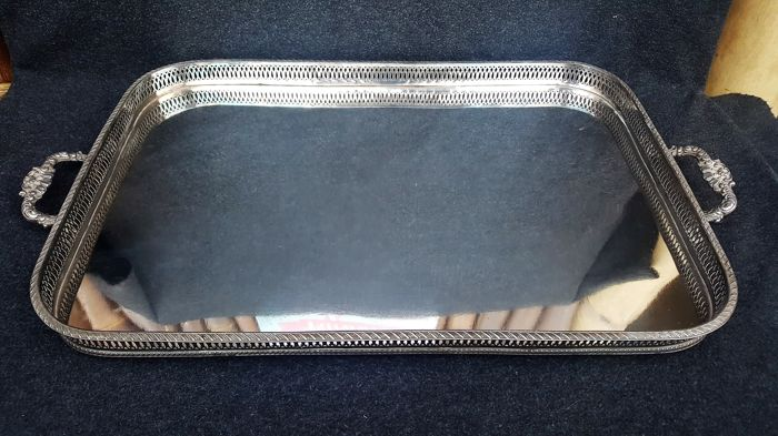Silver plated serving tray - very large 36.5 cm x 64 cm - open work edge - 20th century - origin unknown