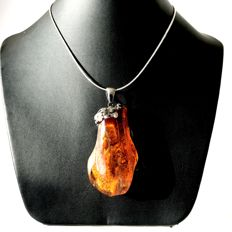 Old sterling silver pendant with natural Baltic Amber (not pressed, not heated) and silver necklace, 36.9 gr.