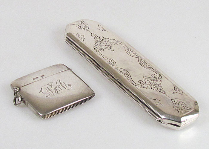 Silver spectacle case and silver tinder box, Netherlands/England, 1888/1906