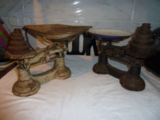 2 Vintage Sets Of Scales With Weights