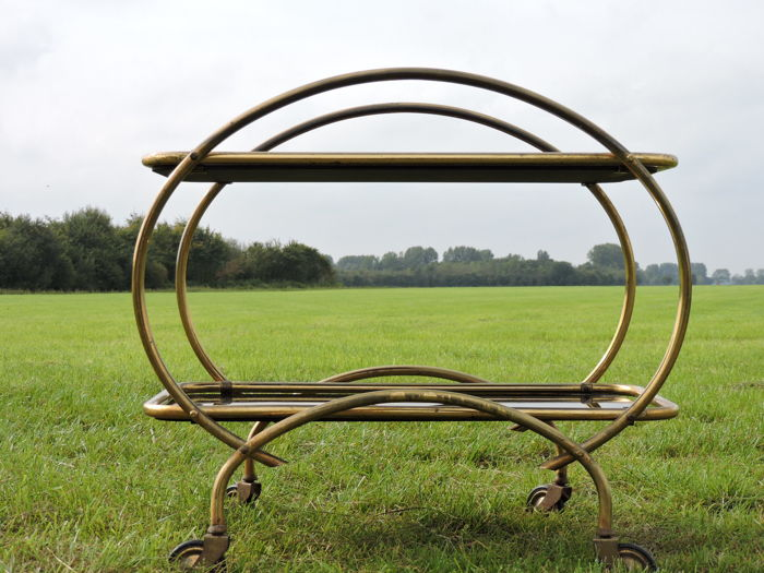 Art Deco serving trolley - designer unknown - brass with black smoked glass