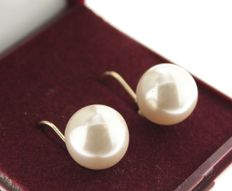 14 kt gold earrings with pearl, 11 mm