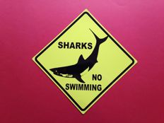 Signs; Lot 2x Warning and Danger! Shark + Jellyfish