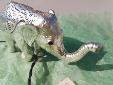 """""""baby elephant"""" from the """"Lumière"""" silver collection, Christofle brand, 1970"""