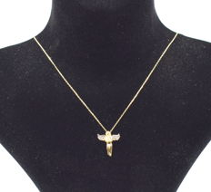 14 carat yellow gold necklace  with Angel  pendant  42 cm