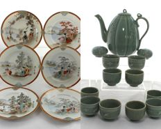 Japanese Ceramic Tableware - Celadon Pottery Tea Set for 10 Persons + 6 Kutani or Satsuma Hand Painted Porcelain Dessert Plates