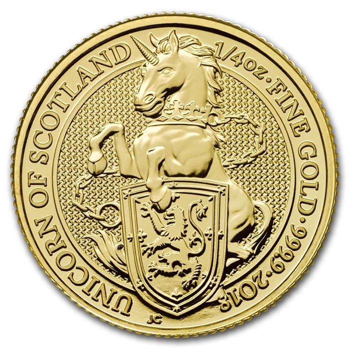 United Kingdom - 25 Pounds 2018 'Queens Beasts Unicorn of Scotland '- ¼ oz - Gold