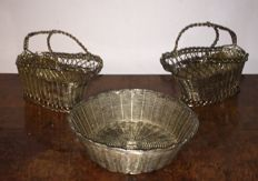 2 Woven Silver-plate Wine Bottle Basket Caddy & silver plated woven basket