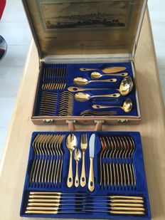 Exclusive SBS Solingen 23/24 Hard gold plated cutlery for 12 people, 70 piece cutlery case Model Tuscany the luxe 1280L cobalt blue