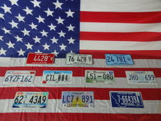 Nice set of 10 American license plates - 4428TV - 76428ST - 24781H - 6YZF162 - CTL004 - L5108D - JHU699 - 62TL43A9 - LC7891 - 766439A