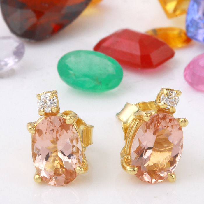 0.86 Carat Morganite 14K Solid Yellow Gold Diamond Earrings - Face Measures: 12.70x6.03 Millimeters *** Free Shipping *** No Reserve ***