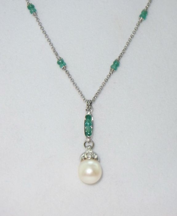 ZANCAN golden necklace with cultured South sea pearl, diamonds and emeralds