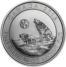 Canada - Howling Wolves 2016 - 3/4 OZ .999 fine Silver