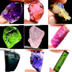 Lot of Amethyst, Garnet, Opal, Peridot, Tourmaline, Morganite, Iolite, Ruby, Sapphire - 77.1 ct (9)