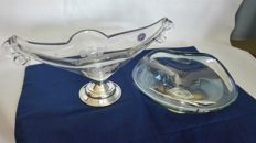 Two cake stands in crystal and 800/925 laminate