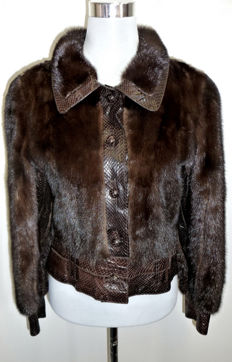 Cute coffee brown mink jacket in a trendy look fur jacket, mink leather fur jacket