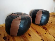Two Leather Club Poufs coming from USA - 1970 s .