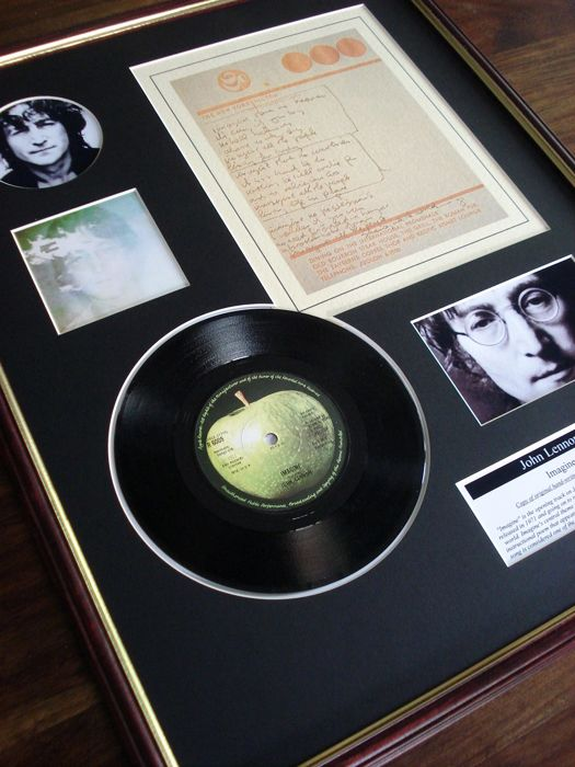 "John Lennon Imagine original handwritten lyrics display / 7"" vinyl record display"