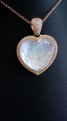 Stunning heart pendant with Mother-of-pearl/18 ct quartz and 0.80 ct diamonds, VS1/E