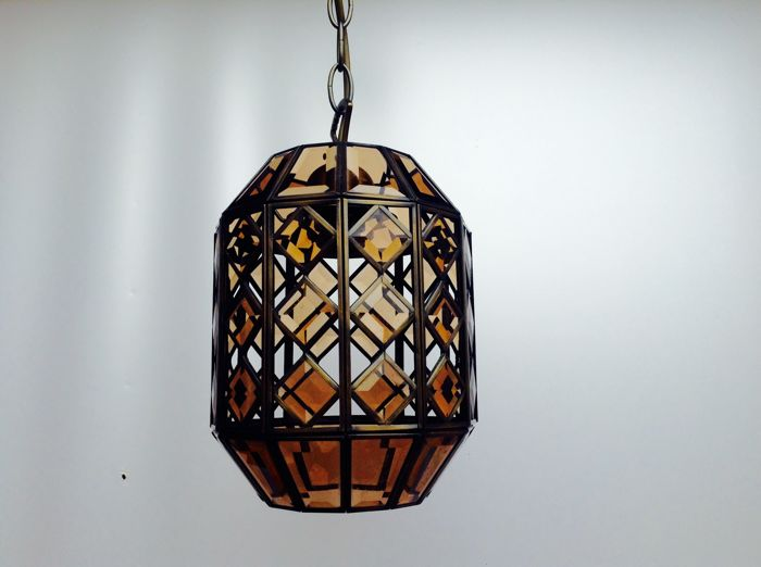 copper lantern with non glass in facet catawiki. Black Bedroom Furniture Sets. Home Design Ideas