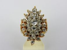 14 kt yellow gold ring set with cubic zirconia - size 16¼ - 9.6 grams