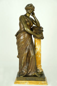 Henri Louis Levasseur (1853-1934) - large bronze coloured zamak sculpture titled 'Poésie' - France - approx. 1900