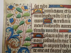 Manuscript; Handwritten page from a South Flemish or French book of hours - c. 1470