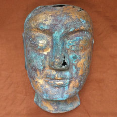 Chinese Liao dynasty gilt burial mask,  31 x 21 x 12 cm