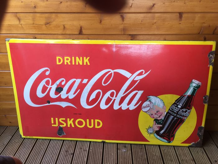 Enamel advertising sign, Coca Cola oblong - 1954