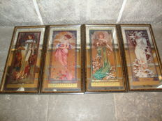 After - Alphonse Mucha's, Four Seasons - Elite France Edition ( Large Expensive Frame with Mirror )