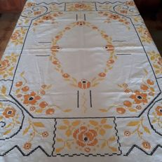 A colourful tablecloth with hand embroidery - Italy - 1960s