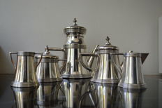 Art Deco set silver metal service.