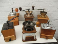 Six beautiful manual coffee mills