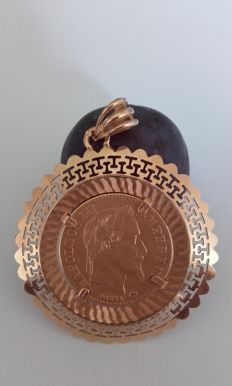 Gold medallion with Napoleon piece 21.6 ct
