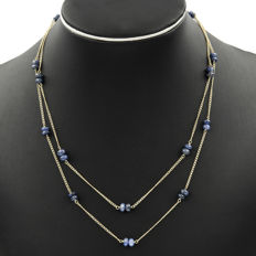 18 kt (750/1000) yellow gold - choker - cabochon sapphires, chain length: 47.00 cm (approx.)
