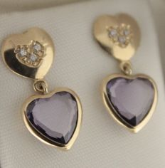 14 kt, Yellow gold earrings set with amethyst and zirconia - Size: