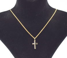 14 carat yellow and white gold necklace  with Cross pendant  . 45  cm   approx
